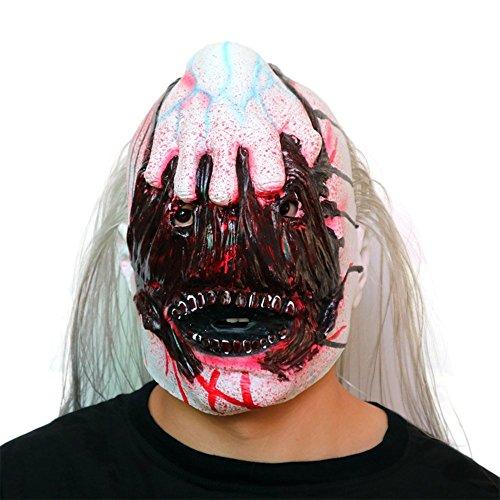 FHDUY Horror Maske Übelkeit Geisterhaus Geheimes Zimmer Leute Erschrecken Schädel Schädel Plasma Halloween Biohazard Film Kopfbedeckungenin der Hand Ein Geist