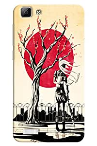 Omnam Black And Cream Contrast Of Tree Sun And Girl Printed Designer Back Cover Case For Vivo V1