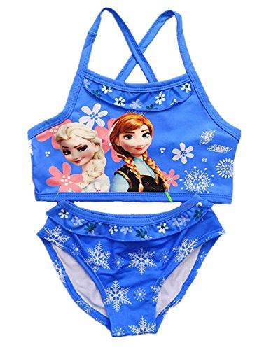 (Inception Pro Infinite Größe 100-2-3 Jahre - Badeanzüge - ELSA & Anna - Mädchen für Mädchen - Blaue Farbe - Zwei Stücke)