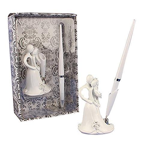 LanLan Romantic Wedding Accessory 16cm Wedding Pen with Groom and Bride Embracing Design Base Set