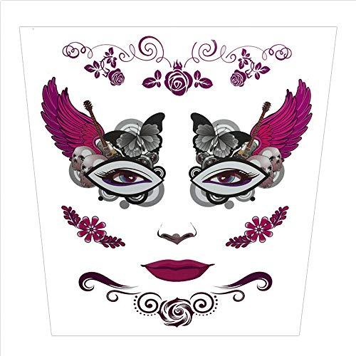 Wawer Halloween Tattoo Aufkleber temporäre Gesicht Kunst Wasserdichte Maske Sugar Schädel Tattoo Beauty Aufkleber (B)