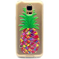 MOTOUREN Samsung Galaxy S5 Mini Coque , Transparent Crystal TPU Ultra Mince Ultra Léger Silicone Doux TPU Case Cover Housse Etui pour Samsung Galaxy S5 Mini- ananas coloré