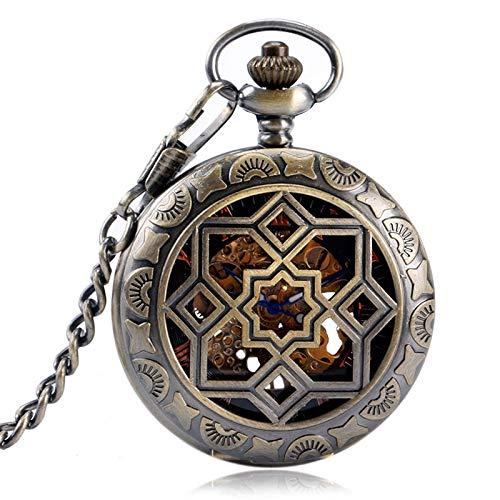 XY&DQ Taschenuhr Symmetrie Carving Grills Mechanische Uhren Wind Up Hohl Taschenuhr für Herren Damen Geschenke Kupfer Retro Anhänger, Bronze (Wind Up Pocket Watch Mit Kette)