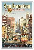 San Francisco - Ligne Lindbergh - TWA (Transcontinental & Western Air) - Tramways à traction par câble de Californie - Affiche ancienne vintage Companie aérienne Poster aviation by Kerne Erickson - Reproduction Professionelle d'art Master Art Print - 33cm in x 48cm...