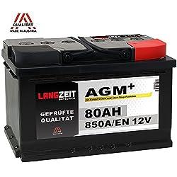 LANGZEIT AGM+ 80Ah 12V 850A/EN Start-Stop Autobatterie VRLA Batterie