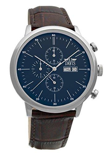 Davis 1955 - Reloj Deportivo Hombre Retro Azul Cronógrafo Sumergible 50M Dia y Fecha Correa de Piel Marron