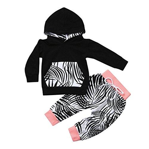 engel kinderkleidung Baby Kleidung CLOOM Junge Mädchen Outfits Set Hoodie langarm jacke Retro Blatt Drucken Kapuzenpullover tops + Weich Baumwolle Hosen Mode Anzug Set (70, Rosa)
