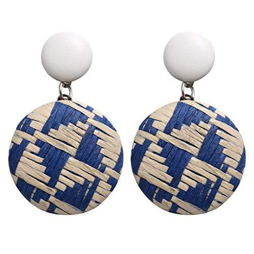 LOLIANNI Damenmode Rattan Ohrring Damen Holz Bambus Rattan Geometrische Runde Ohrringe Damen Eleganter Schmuck