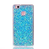 Case for Huawei P9 Lite, Misteem Glitter Sequins, Misteem Shining Sparkle Bling Stars Diamond Back Case Transparent Ultra Slim Thin Shockproof Shell Rubber Silicone Crystal Clear Protective Cover Bumper for Huawei P9 Lite (Blue)