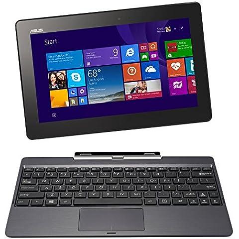 Asus T100TAF-BING-DK024B Transformer Book Notebook Convertibile in Tablet, Processore Intel Atom Quad Core Z3735F, Display 10 Pollici Touchscreen Glare, RAM 2 GB, SSD 32 GB, Nero/Antracite