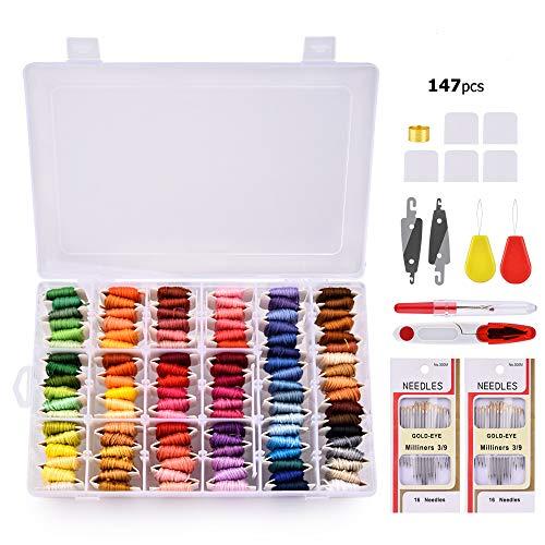 MS.DEAR Stickgarn Embroidery Floss, Stickerei Starter Kit mit Organizer Aufbewahrungsbox- 108 Farben Baumwollfaden und Kreuzstich Werkzeugsatz- 148 Stück -