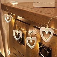 Gledto 120cm 10LED Bianco Caldo Cuore Legno Impermeabile Luce Strisce Luce della Stringa Chiara Stella Alimentata a Batteria per Giardini Casa Matrimonio Festa di Natale Compleanno