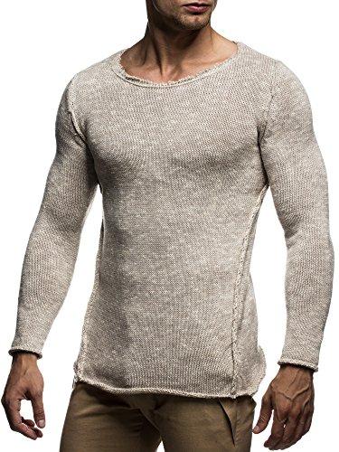 LEIF NELSON Herren Strickpullover Pullover Sweatshirt LN20709 Beige
