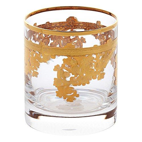 Lorren Home Trends Royal-DOF Set mit 4 verzierten 24 Karat Gold Kristallen doppelt altmodisch hergestellt in Italien Glas klar Dof Gläser Set