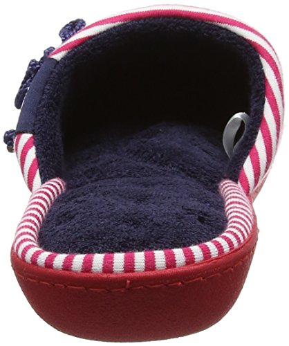 Isotoner Red/White Slipper, Chaussons Mules Femme Multicolour (Navy/Pink)