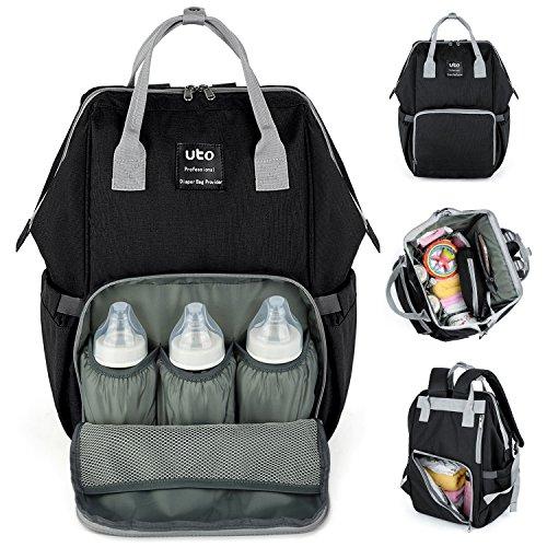 UPGRADED VERSION-UTO Wickeltasche Multi-Funktion Große Kapazität Wasserdichte Reiserucksack Wickeltaschen für Baby-Pflege Stilvolle Durable Outdoor-Rucksack Schwarz (Baby-jungen Wickeltasche Stilvolle)