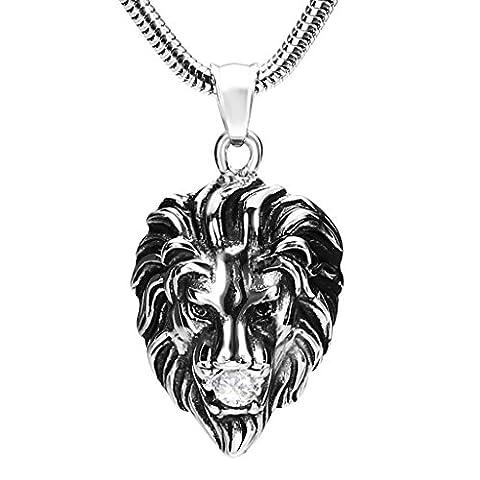 Gnzoe Hommes Acier inoxydable Lion Head With Cristal Argent Mode Pendentif Collier 2.6x3.5CM