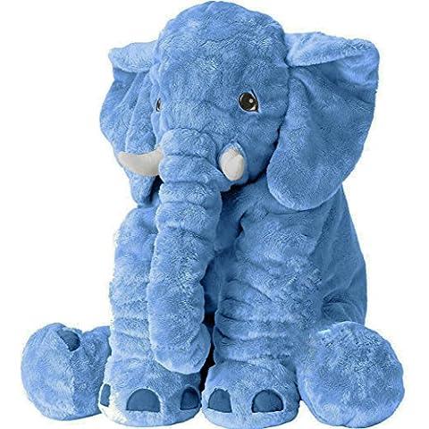 NOOPSY® Farcito Elefante di Peluche Morbido Peluche Animali Giocattolo Baby Cuscini Cuscino Boby Confortevole Cuscino Migliore per Bebè, Bambini, Ragazzi o Ragazze (Blu)