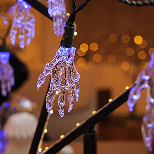 alloween LED-Kette Totenkopf hand Zeichenfolge Indoor-Dekorationen, Die Party Urlaub Lichterkette liefert(Blau) (Indoor-halloween-dekorationen)