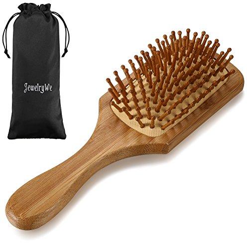 Holz-naturhaarbürste (JewelryWe Natur-Haar-Bürste Holz Natural Line Paddle-Brush, 9-reihig, zum täglichen Durchkämmen und Entwirren der Haare, abgerundete Borsten, antistatisch für lange und dicke Haare)