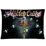 Motley Crue Pillowcase Custom Throw Pillow cover 20x30 Zippered Pillow Case Two Sides Picture Printed Soft Cotton Comfor