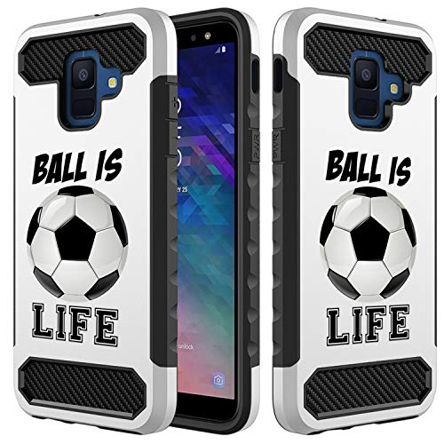[Inkmodo] Galaxy A6 2018 Hülle - Einzigartige doppellagige Rundumschutz Stoßfeste Hybrid-Hülle (PC + TPU) - Fußball ist das Leben Zitat Mädchen Teenager Design Bedruckt mit geprägter Wirkung - Cleats Weiße Männer