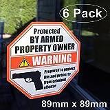 Front vinilo autoadhesivo–Exterior/Interior (Paquete de 6) 89mm x 89mm, protegida por propietario de la propiedad Home Business Armadas ventana puerta Pistola Handgun Alerta de adhesivo adhesivos
