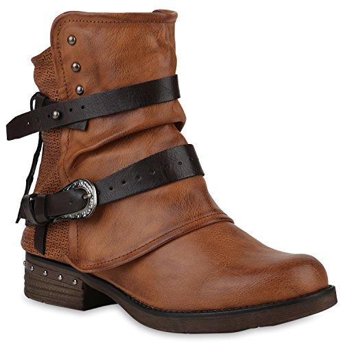 Stiefelparadies Damen Stiefeletten Biker Boots Leicht Gefütterte Booties Schnallen Schuhe 147633 Hellbraun Nieten 40 Flandell