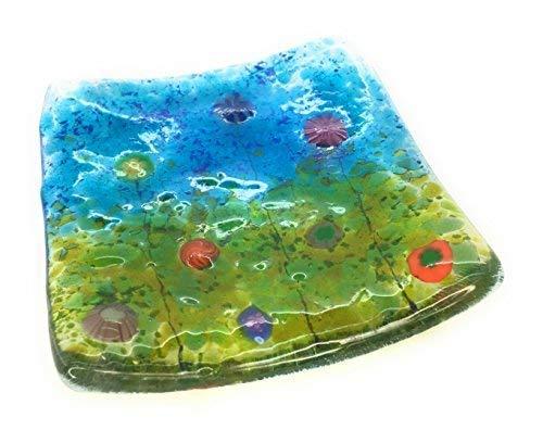 The Glass Garden Millefiori Fleurs Fusionné à Bijoux en Verre Plat – Multicolore – Fait à la Main en East Sussex – Idéal pour Bougies Chauffe-Plat, Bijoux, Snacks, clés,