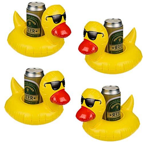 Bada Bing 4er Set Aufblasbarer Getränkehalter Badeente Ente Gelb Mit Cooler Sonnenbrille 80