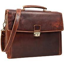 STILORD 'Noel' Maletín de piel para hombres vintage grande clásico bolso de negocios portafolio bolso bandolera bolso para ordenadores portátiles 13,3 pulgadas