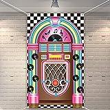 Jukebox Ausschnitt Banner 50er Jahre Rock'n'Roll Banner Hintergrund Geburtstag Party Dekoration Baby Dusche Geburtstag Party Bedarf