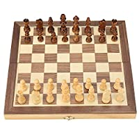 Wooden Magnetic Chess Set Folding Board Desktop Game and Storage Toy for Kids Beginners Adults