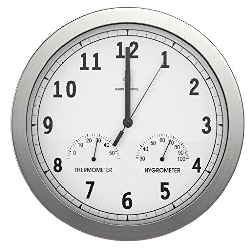 BonVivo Timerider Funkuhr Aus Aluminium Mit Integriertem Thermometer & Hygrometer, Große Wanduhr Für Wohnzimmer, Küche & Büro, Höchste Genauigkeit Dank Funk, Wanduhr Lautlos, Durchmesser: 30,5 cm