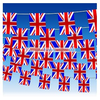 BRITISH UNION JACK 60 FEET UK BUNTING SPORTING EVENTS PUB BBQ THEME PARTY(40 flag)