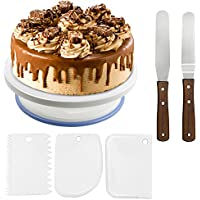 Wisfox Cake Plate Rotating Cake Stand Cake Turntable Cake Decorating Turntable with 2 Knife Set, Set of 3 Icing Smoother Perfect for Cakes, Pies, and Tarts (plastic)