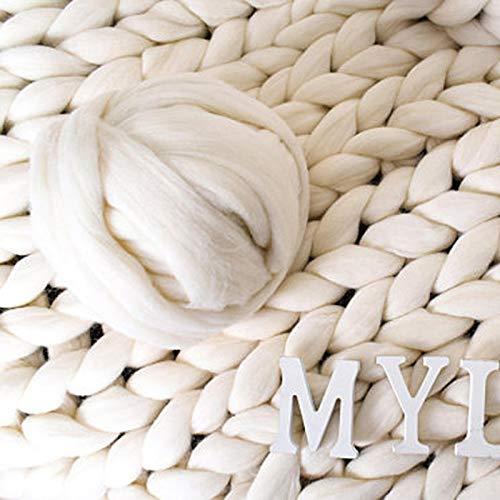 Outtybrave Island-Wolle, sehr grobes Garn, super sperrige Arme, gestrickte Wolle, acryl, Cream Color, Einheitsgröße (Super Sperrige Garn Für Teppiche)