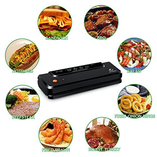 Vakuumierer von LifeBasis Lebensmittel Vakuumiergerät Folienschweißgeräte Trennbar Vakuum-vakuumieren mit Vakuumierschlauch, doppelte 33cm Schweißnaht, 150W inkl.20 gratis Folienbeutel Sous-Vide Garer geeignet - 4