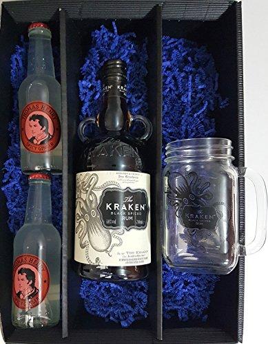 Dark and Stormy Geschenkset - Kraken Black Rum 70cl (40% Vol) + Lynchburg Glas + 2x Thomas Henry Spicy Ginger 200ml