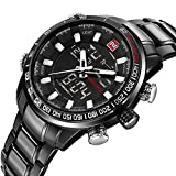 ASWAN WATCH Herren Uhr Chronograph Quarz mit Edelstahl Armband NVF9093B-AllBlack