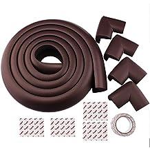 2M Longitud protectores de la esquina Escritorio Tabla Corner Edge Protección Cojines Tabla Cubierta protección de bordes + 4 Esquina Marron oscuro (Dark brown)