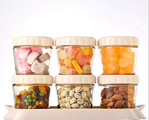 YW-storage jar EIN Satz von 6 Mini-Glaslager versiegelten Dosen, transparente Marmeladengläser mit Kunststoffüberzug Party Candy Hochzeitsküchendekorationen