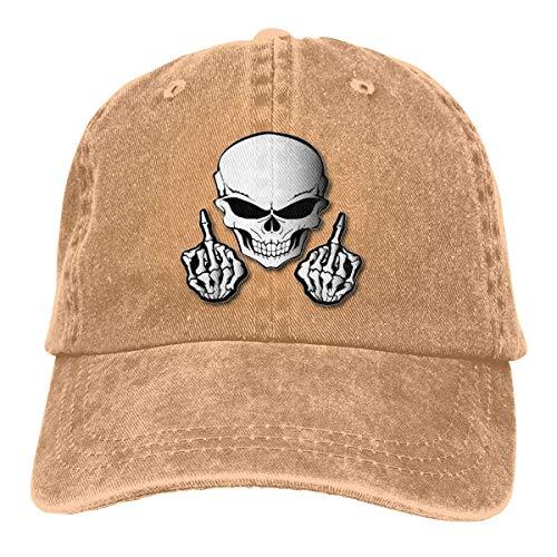 Schädel Mittelfinger Retro Einstellbare Cowboy Denim Hut Unisex Hip Hop Schwarz Baseball Caps DIY 17338