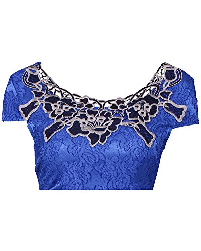 Robe Dentelle Femmes Grande Taille Moulante à Manche Courte Courtes Robes Bleu