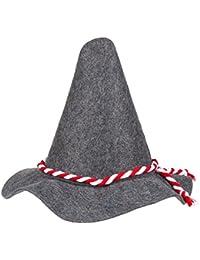 Premium Seppelhut aus 5 mm dickem Qualitätsfilz, hochwertiger Trachtenhut (Gewicht: 140 gr.) für das Oktoberfest, der Tirolerhut mit blauer oder roter Kordel in Einheitsgröße, Hut für die Wiesn