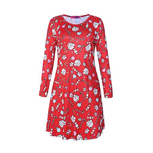 Damen Weihnachtskleidung Print Rock Casual Langarm Kleid Rot 02 L