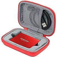 co2CREA Duro Viajar Fundas Caso Cubierta Estuche para Samsung T5 Disco SSD portatíl Portable External Solid State Drive 250GB /500GB /1TB /2TB (Rojo)