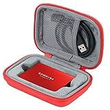 co2CREA Hart Reise Schutz Hülle Etui Tasche für Samsung Portable SSD T3 T5 250GB /500GB /1TB /2TB External Solid State Drive (Rot/NETO)