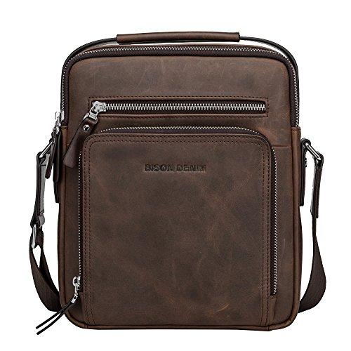 BISON DENIM Herren Leder Schultertasche Reisetasche Kleine Umhängetasche Handtaschen (Braun/N2333-1ZF)