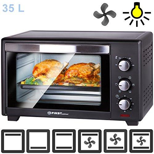 Mini four | 35 litres | 1600 watts | avec éclairage intérieur et chaleur tournante | Mini-four à pizza | Porte à double...